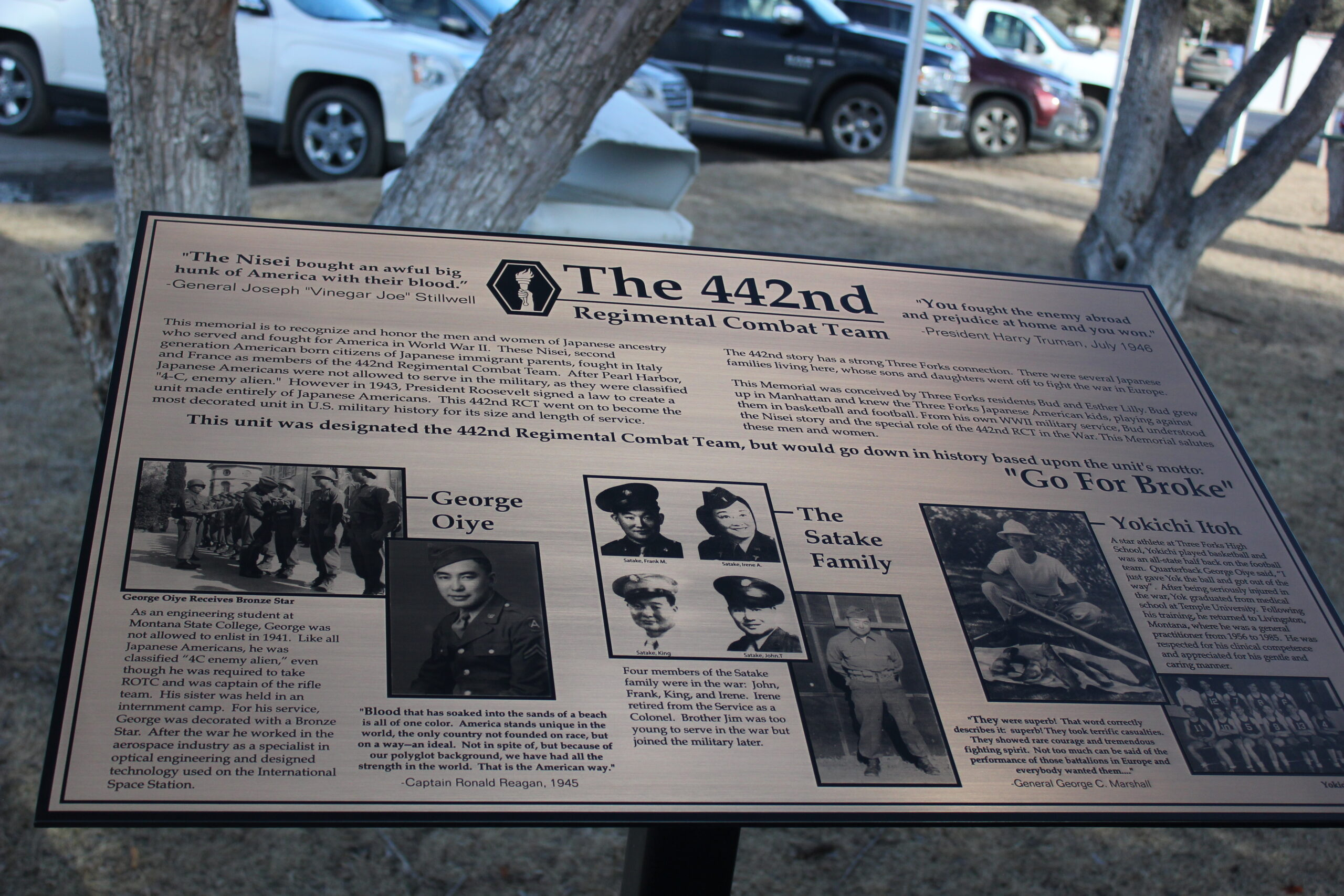 442nd Memorial Plaque in Three Forks, Montana