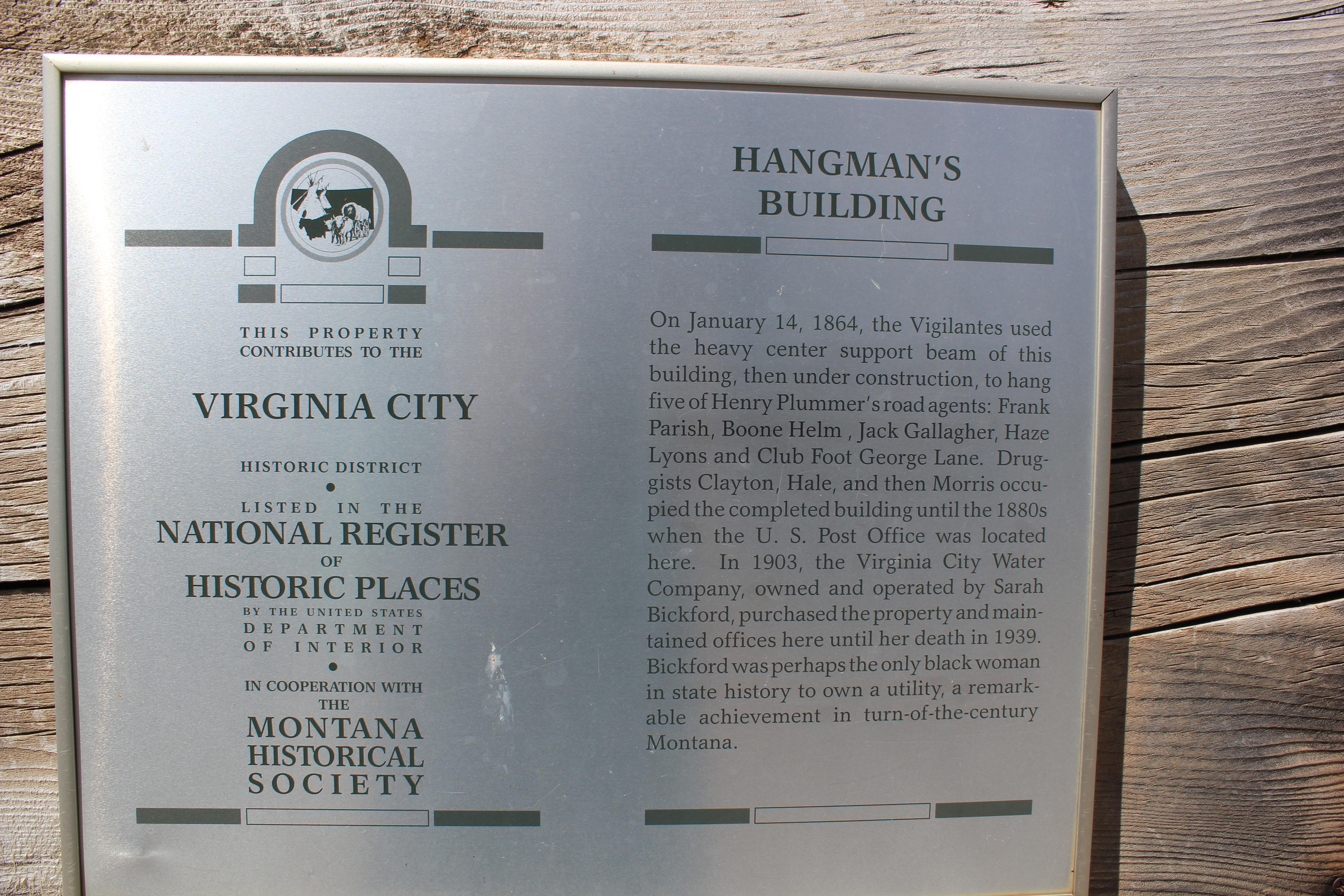 Hangman's Building Plaque