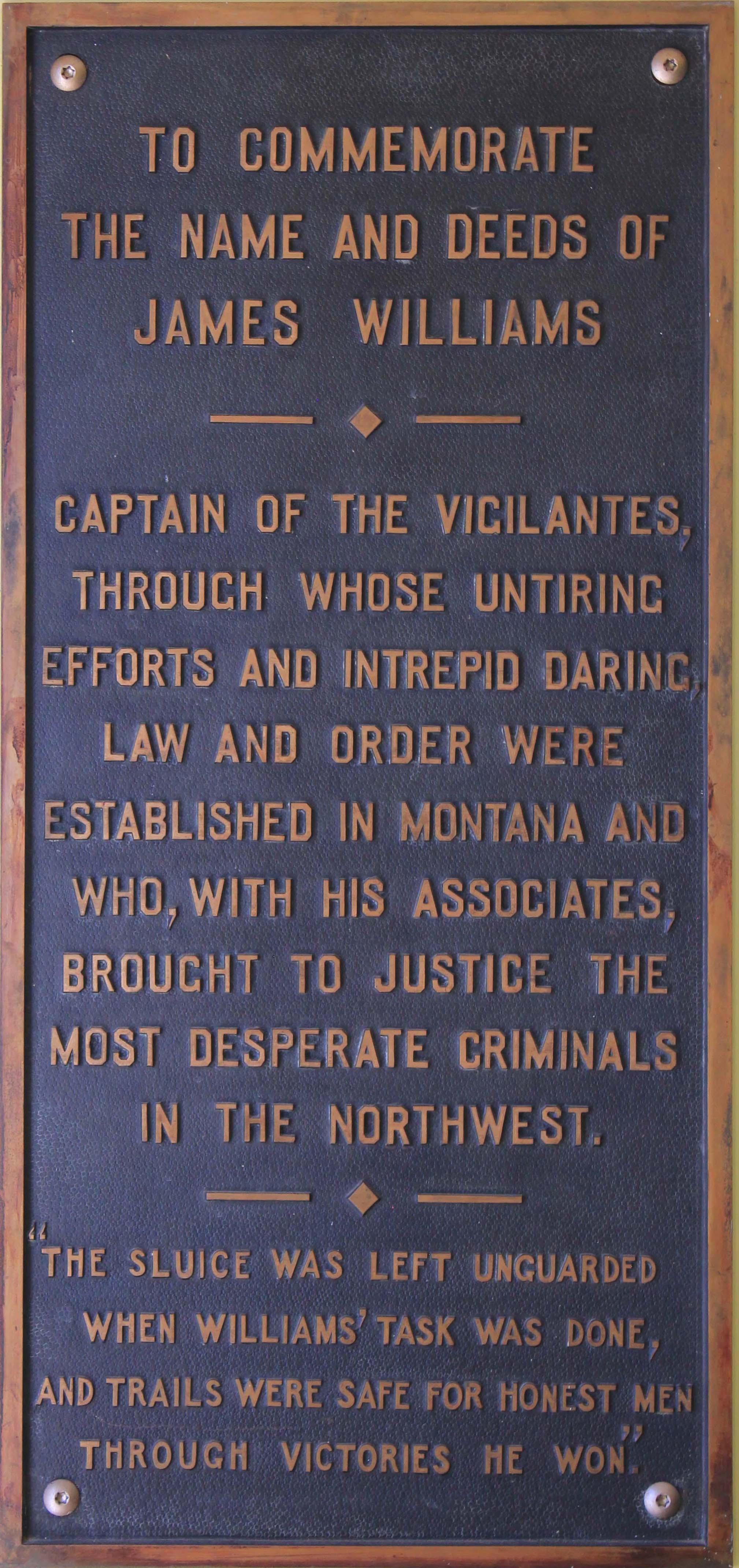 Capt Williams Plaque